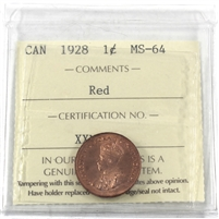1928 Canada 1-cent ICCS Certified MS-64 Red (XXN 450)