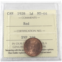 1928 Canada 1-cent ICCS Certified MS-64 Red (XVP 328)
