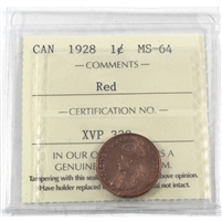1928 Canada 1-cent ICCS Certified MS-64 Red (XVP 338)