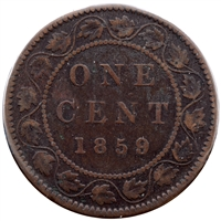 1859 Wide 9/8 Canada 1-cent Very Good (VG-8)