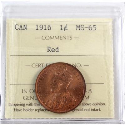 1916 Canada 1-Cent ICCS Certified MS-65 Red (XFV 144)