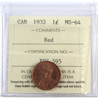 1932 Canada 1-Cent ICCS Certified MS-64 Red