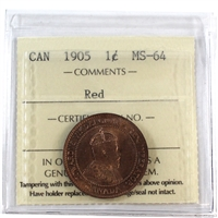 1905 Canada 1-Cent ICCS Certified MS-64 Red