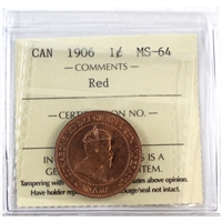 1906 Canada 1-Cent ICCS Certified MS-64 Red