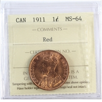 1911 Canada 1-Cent ICCS Certified MS-64 Red (XUM 431)