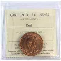 1913 Canada 1-Cent ICCS Certified MS-64 Red