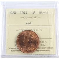 1914 Canada 1-Cent ICCS Certified MS-65 Red