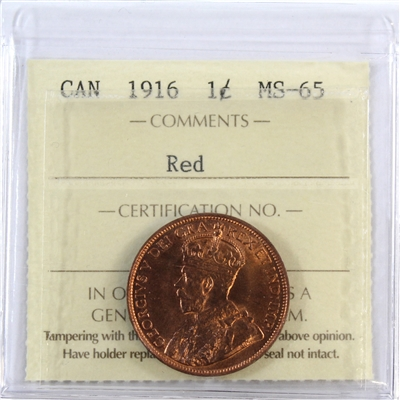 1916 Canada 1-Cent ICCS Certified MS-65 Red
