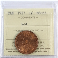 1917 Canada 1-Cent ICCS Certified MS-65 Red (XUZ 578)