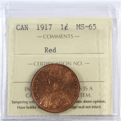 1917 Canada 1-Cent ICCS Certified MS-65 Red