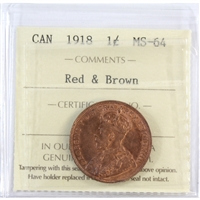 1918 Canada 1-Cent ICCS Certified MS-64 Red & Brown