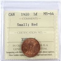 1920 Canada 1-Cent ICCS Certified MS-64 Small; Red