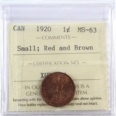 1920 Canada 1-Cent ICCS Certified MS-63 Small; Red & Brown