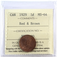 1929 Canada 1-Cent ICCS Certified MS-64 Red & Brown