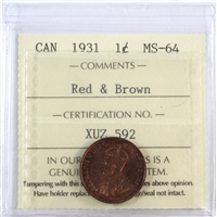 1931 Canada 1-Cent ICCS Certified MS-64 Red & Brown