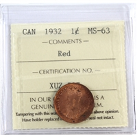 1932 Canada 1-Cent ICCS Certified MS-63 Red