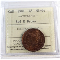 1901 Canada 1-Cent ICCS Certified MS-64 Red & Brown