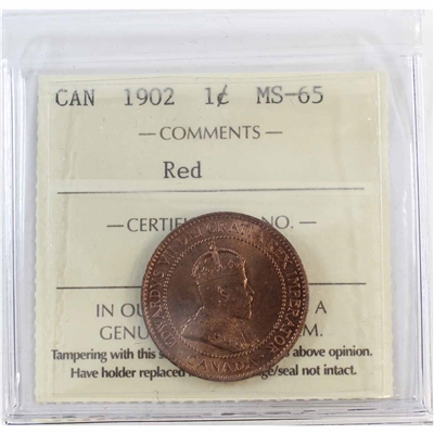 1902 Canada 1-Cent ICCS Certified MS-65 Red (XMU 378)