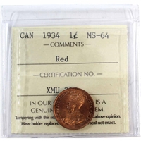 1934 Canada 1-Cent ICCS Certified MS-64 Red (XMU 397)