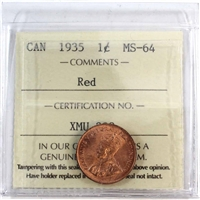 1935 Canada 1-Cent ICCS Certified MS-64 Red (XMU 399)
