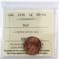 1936 Canada 1-Cent ICCS Certified MS-64 Red (XMU 401)