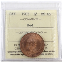 1903 Canada 1-Cent ICCS Certified MS-65 Red (XCE 729)