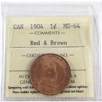 1904 Canada 1-Cent ICCS Certified MS-64 Red & Brown (XQL 278)