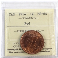 1914 Canada 1-Cent ICCS Certified MS-64 Red (XCE 743)