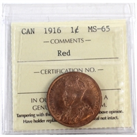 1916 Canada 1-Cent ICCS Certified MS-65 Red (XCE 748)