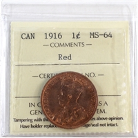 1916 Canada 1-Cent ICCS Certified MS-64 Red (XCE 747)