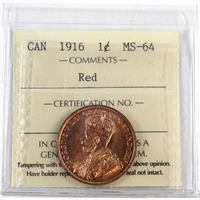 1916 Canada 1-Cent ICCS Certified MS-64 Red (XCE 749)