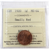 1920 Canada 1-Cent ICCS Certified MS-64 Small; Red (XCE 765)