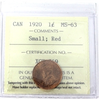 1920 Canada 1-Cent ICCS Certified MS-63 Small; Red (XCE 769)