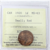 1920 Canada 1-Cent ICCS Certified MS-63 Small; Red (XCE 774)