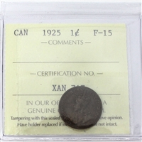 1925 Canada 1-Cent ICCS Certified F-15