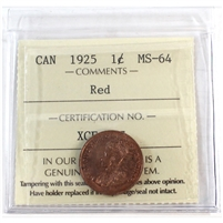 1925 Canada 1-Cent ICCS Certified MS-64 Red (XCE 777)