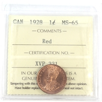 1928 Canada 1-Cent ICCS Certified MS-65 Red (XVP 331)