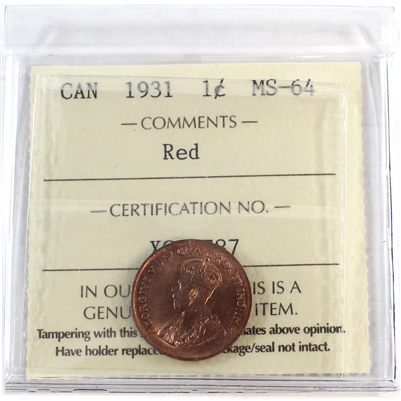 1931 Canada 1-Cent ICCS Certified MS-64 Red (XCE 787)