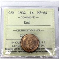 1932 Canada 1-Cent ICCS Certified MS-64 Red (XCE 788)