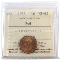 1933 Canada 1-Cent ICCS Certified MS-64 Red (XCE 798)
