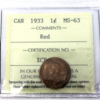 1933 Canada 1-Cent ICCS Certified MS-63 Red (XCE 796)
