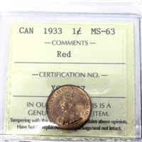 1933 Canada 1-Cent ICCS Certified MS-63 Red (XCE 797)