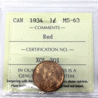 1934 Canada 1-Cent ICCS Certified MS-63 Red (XQL 301)