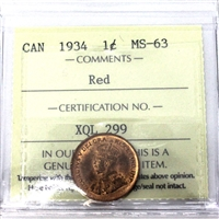 1934 Canada 1-Cent ICCS Certified MS-63 Red (XQL 299)