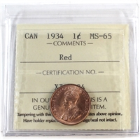 1934 Canada 1-Cent ICCS Certified MS-65 Red (XIC 384)