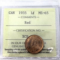 1935 Canada 1-Cent ICCS Certified MS-65 Red (XCE 811)
