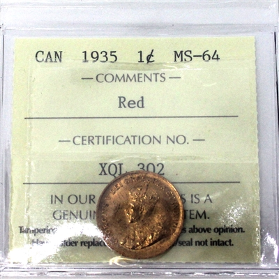 1935 Canada 1-Cent ICCS Certified MS-64 Red (XQL 302)