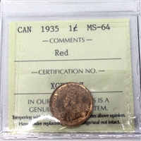 1935 Canada 1-Cent ICCS Certified MS-64 Red (XCE 807)