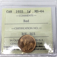 1935 Canada 1-Cent ICCS Certified MS-64 Red (XQL 303)