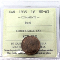 1935 Canada 1-Cent ICCS Certified MS-63 Red (XCE 810)